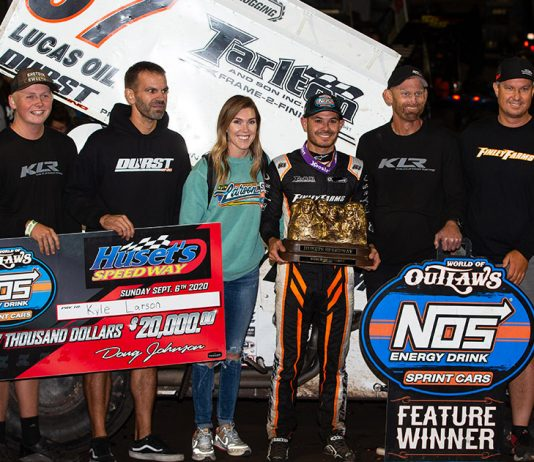 Kyle Larson in victory lane at Huset's Speedway. (Trent Gower photo)
