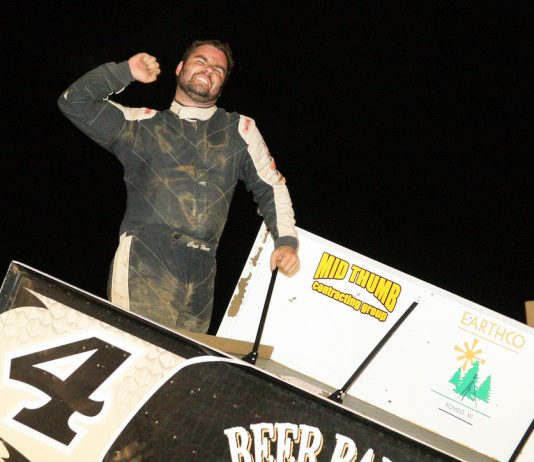 Cap Henry celebrates winning the Pete Jacobs Memorial at Wayne County Speedway. (Todd Ridgeway photo)