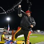 Boo Boo Dalton celebrates a victory Sunday night at Carteret County Speedway. (Eric Creel Photo)