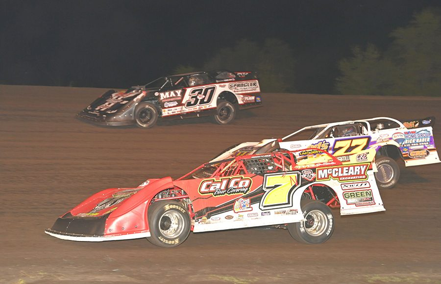 Andy Nezworski (7N), Jeff Aikey (77) and Ricky Thornton Jr. battle for position during Monday's IMCA Speedway Motors Super Nationals late model championship feature at Boone Speedway. (Tom Macht Photo)