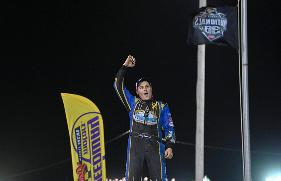 Ricky Thornton Jr. celebrates in victory lane after winning Monday's IMCA Speedway Motors Super Nationals late model championship feature at Boone Speedway. (Tom Macht Photo)