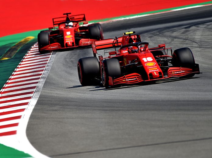 The Ferrari entries of Charles Leclerc (16) and Sebastian Vettel (5) are much slower than their Formula One rivals this year. (Ferrari Photo)