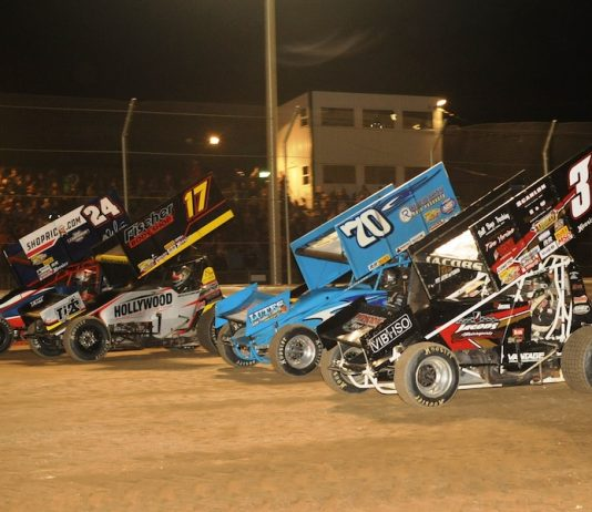 The four-wide parade lap on the final night of the Attica Ambush at Attica Raceway Park features Rico Abreu (24), Ian Madsen (17), Cale Thomas (70) and Trey Jacobs. (Julia Johnson photo)