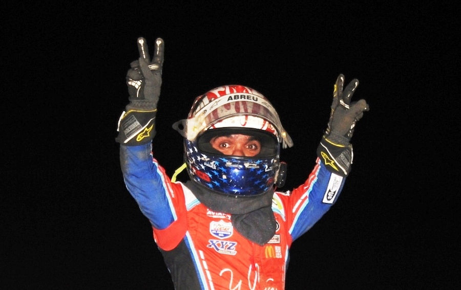 Rico Abreu celebrates a $10,000 All Star sprint car victory at Attica Raceway Park. (Julia Johnson photo)