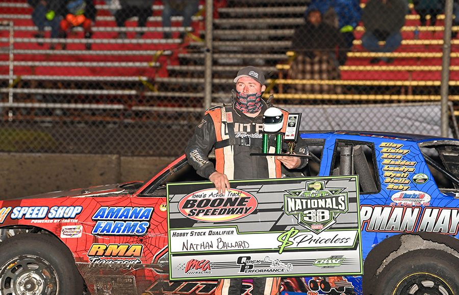 Nathan Ballard following his victory Wednesday night at Boone Speedway. (Tom Macht Photo)