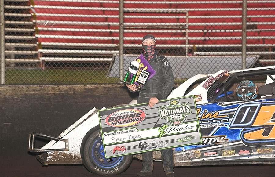 Brett Berry following his victory in the second Northern sportmod qualifier Wednesday at Boone Speedway. (Tom Macht Photo)