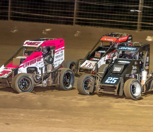 Thomas Meseraull (7x), Chase Johnson (25) and Emerson Axsom race for position during Saturday's USAC National Midget Series feature at Sweet Springs Motorsports Complex. (Mark Coffman photo)