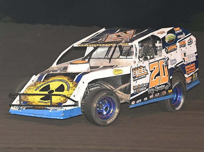 Ricky Thornton Jr. won one of the two qualifiers for the modified division Thursday during the IMCA Speedway Motors Super Nationals at Boone Speedway. (Tom Macht Photo)