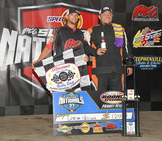 Dylan Nelson is the defending IMCA Super Nationals champion in the hobby stock division. (Tom Macht Photo)