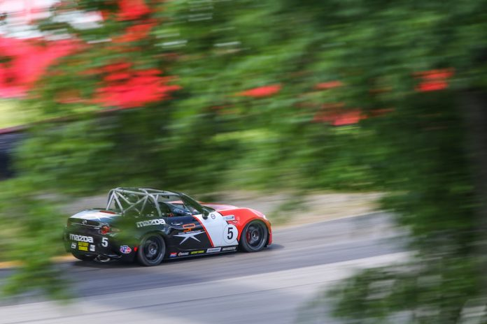 Gresham Wagner en route to victory in Saturday's Global Mazda MX-5 Cup event at Mid-Ohio Sports Car Course. (Mazda photo)