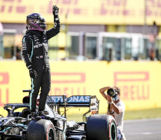 Lewis Hamilton claimed his 95th Formula One pole on Saturday. (Mercedes photo)