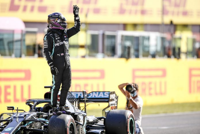 Lewis Hamilton claimed his 95th Formula One pole on Saturday. (Mercedes photo)