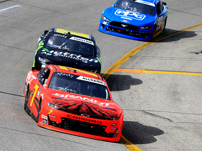 Justin Allgaier (7) leads the way Saturday at Richmond Raceway. (HHP/Jim Fluharty Photo)