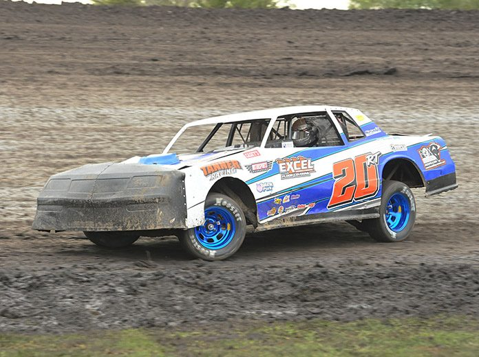 Ricky Thornton Jr. raced to victory in his stock car qualifier Saturday afternoon at the IMCA Speedway Motors Super Nationals at Boone Speedway. (Tom Macht Photo)