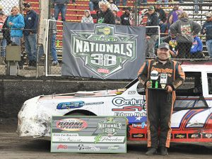 Jeff Mueller claimed a guaranteed starting spot in the stock car main event with his win in a qualifier Saturday afternoon at Boone Speedway. (Tom Macht Photo)