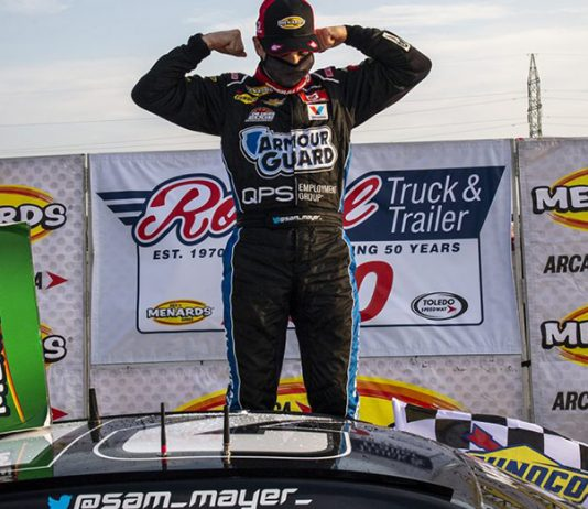 Sam Mayer was a winner again in ARCA Menards Series action Saturday at Toledo Speedway. (Nic Antaya/ARCA Racing Photo)
