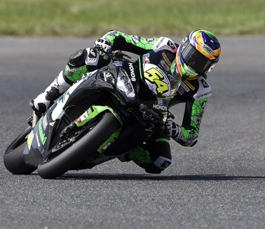 Richie Escalante triumphed in the MotoAmerica Supersport class Saturday at New Jersey Motorsports Park. (Dennis Bicksler Photo)