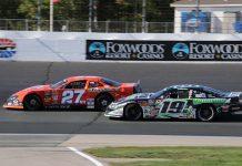 Wayne Helliwell Jr. (27) battles Bryan Kruczek for the lead during Saturday at New Hampshire Motor Speedway. (Alan Ward Photo)