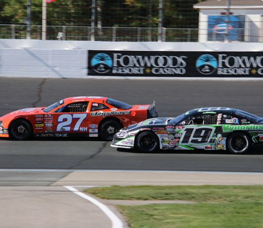 Wayne Helliwell Jr. (27) battles Bryan Kruczek for the lead during Saturday at New Hampshire Motor Speedway. (Alan Ward Photo)