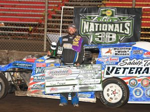 Nick Meyer won the first modified qualifier early Saturday evening at Boone Speedway. (Tom Macht Photo)