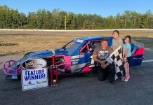 Joe Hoyt won Saturday's Atlantic Modified Tour feature at Speedway Miramichi.