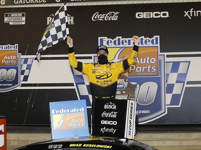 Brad Keselowski celebrates his victory Saturday night at Richmond Raceway. (HHP/Harold Hinson Photo)