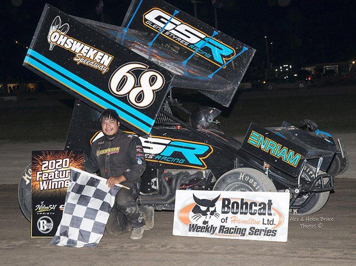 Aaron Turkey in victory lane Saturday night at Merrittville Speedway. (Alex & Helen Bruce Photo)