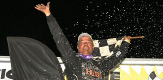 Lance Dewease celebrates winning the Tuscarora 50 for the seventh time at Port Royal Speedway. (Dan Demarco photo)
