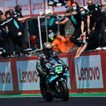 Franco Morbidelli crosses the finish line to earn his first MotoGP victory on Sunday. (MotoGP Photo)