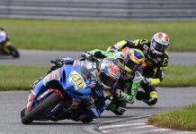 Sean Dylan Kelly (40) leads the field during Sunday's MotoAmerica Supersport event at New Jersey Motorsports Park. (Dennis Bicksler Photo)