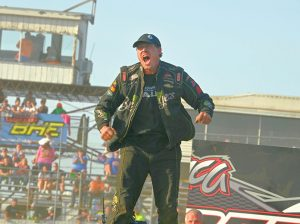 Donavon Smith celebrates after his victory in the IMCA Super Nationals stock car championship race Sunday at Boone Speedway. (Tom Macht Photo)