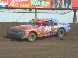 Nathan Ballard on his way to victory Sunday at Boone Speedway. (Tom Macht Photo)