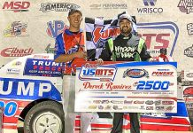 Dereck Ramirez in victory lane Sunday at RPM Speedway.