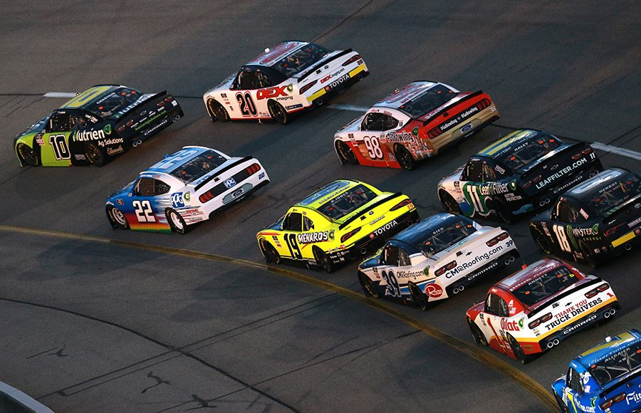Ross Chastain leads the NASCAR Xfinity Series field during a restart Friday a restart at Richmond Raceway. (NASCAR Photo)