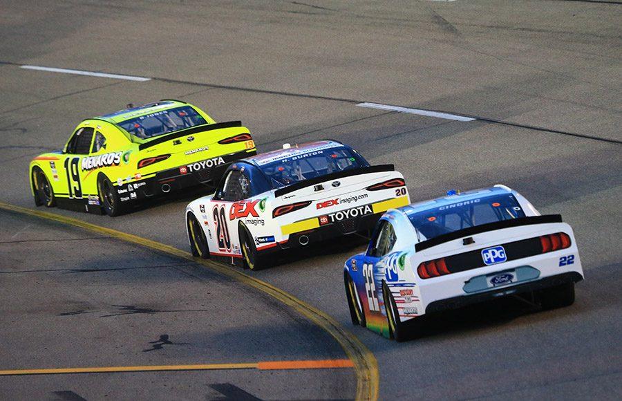 Brandon Jones (19) leads Harrison Burton (20) and Austin Cindric during Friday's NASCAR Xfinity Series race at Richmond Raceway. (HHP/Jim Fluharty Photo)