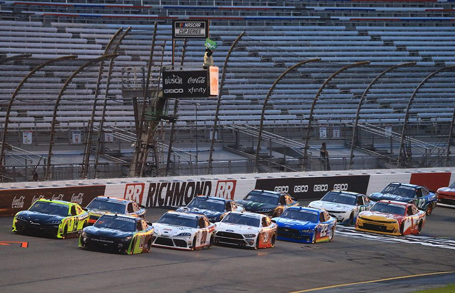 Drivers battle for position at the start of Friday's NASCAR Xfinity Series event at Richmond Raceway. (HHP/Jim Fluharty Photo)