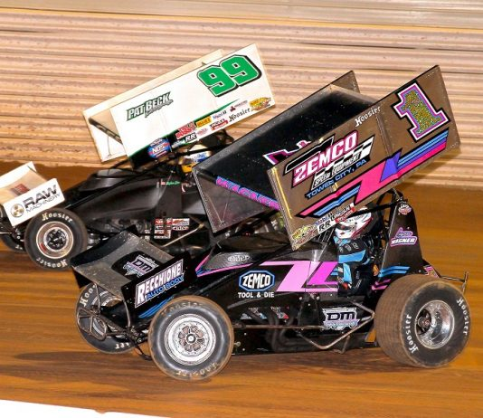 Logan Wagner (1) races Skylar Gee during Friday's Night Before The 50 at Port Royal Speedway. (Dan Demarco photo)