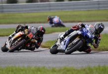 Jake Gagne (32) and Mathew Scholtz battle for position during the MotoAmerica Superbike round at Millville's New Jersey Motorsports Park. (Dennis Bicksler Photo)