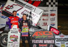 The 10th annual Jesse Hockett-Daniel McMillin Memorial got underway Thursday night at Lucas Oil Speedway with Mark Smith winning the Lucas Oil American Sprint Car Series feature. (GS Stanek Racing Photography)