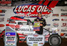Mario Clouser won the POWRi Lucas Oil WAR Sprint League portion of the opening day of the Jesse Hockett-Daniel McMillin Memorial. (GS Stanek Racing Photography)