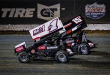 Mark Smith (1) and Sam Hafertepe Jr. at Lucas Oil Speedway. (Greg Stanek photo)