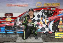 Woody Pitkat in victory lane Friday night at Stafford Motor Speedway.