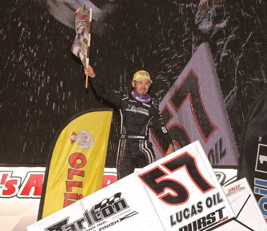 Kyle Larson won Saturday's Dirt Classic at Lincoln Speedway. (Dan Demarco photo)