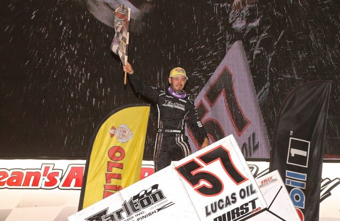 Kyle Larson won Saturday's Dirt Classic at Lincoln Speedway. (Dan Demarco photo)