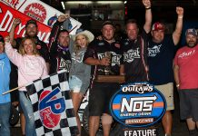 Logan Schuchart and the Shark Racing crew in victory lane. (Trent Gower photo)