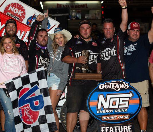 Logan Schuchart and the Shark Racing crew in victory lane. (Trent Gower photo)