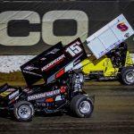 Sam Hafertepe Jr. (15h) battles Derek Hagar at Lucas Oil Speedway. (Greg Stanek photo)