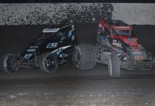 Korey Ruble (17) makes contact with Kyle Cummins as they race for the lead during the Haubstadt Hustler Saturday at Tri-State Speedway. (Neil Cavanah Photo)