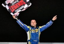 Matt Janczuk celebrates his victory Saturday at Land of Legends Raceway.