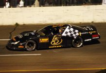 Jonathan Hicken won the Mike Stevens Memorial Super Late Model 200 Saturday at Petty Int'l Raceway.